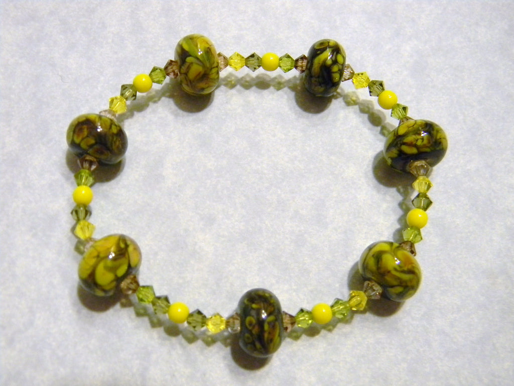 Olive Green & Yellow Art Glass Lampwork Bead and Crystal Stretch Bracelet