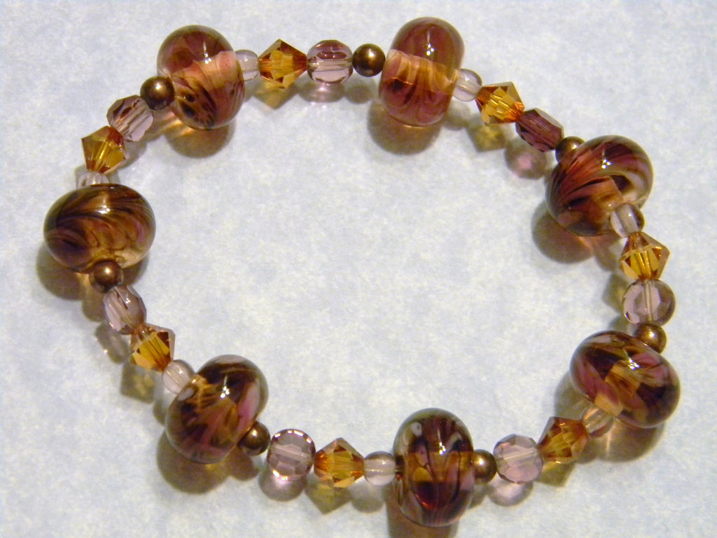 Copper Colored Art Glass, Crystal, Faceted Glass and Copper Bead Stretch Bracelet