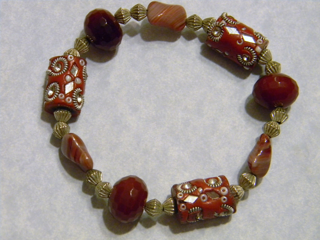 Brick Red Kashmiri Bead, Red Agate, Glass Bead and Silver Stretch Bracelet