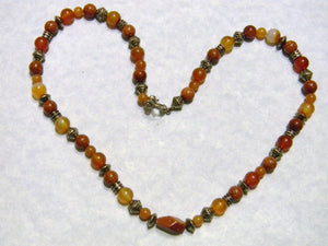 Shades of Orange Gemstone and Silver Necklace