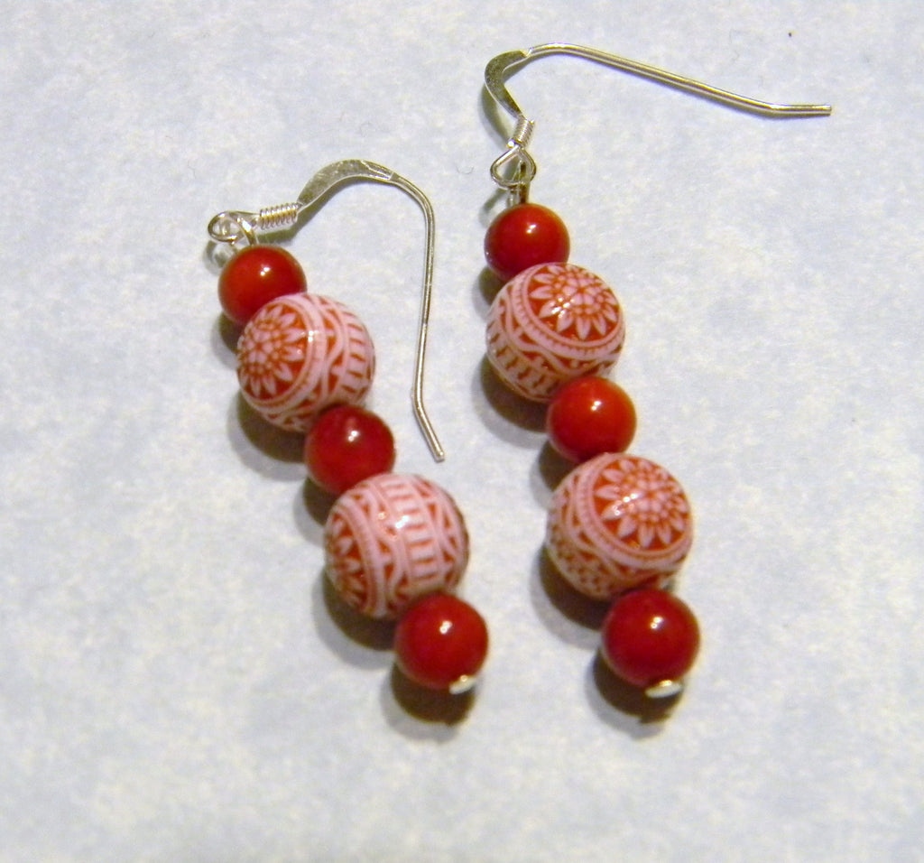 German Style Red and White Lucite Bead and Candy Jade Drop Earrings