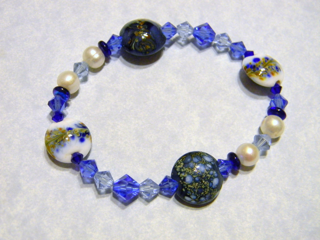 Shades of Blue Art Glass Lampwork Beads, Crystal and Pearl Stretch Bracelet
