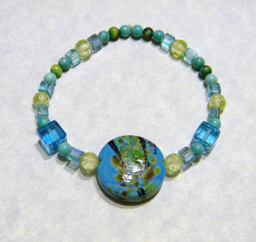 Turquoise, Green and Black Art Glass, CZ, Turquoise and Glass Stretch Bracelet with Large Focal Bead