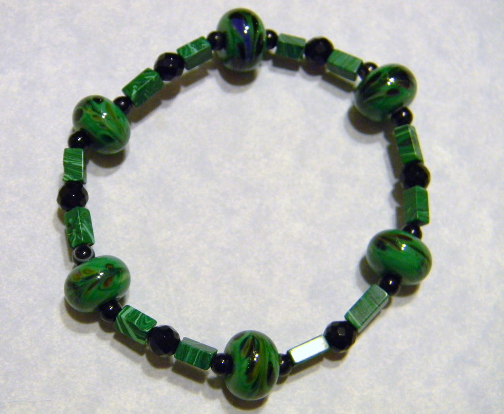 Green and Black Art Glass Lampwork Beads, Onyx and Malachite Stretch Bracelet