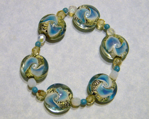 Turquoise, Black, White and Gold Lampwork Art Glass Stretch Bracelet