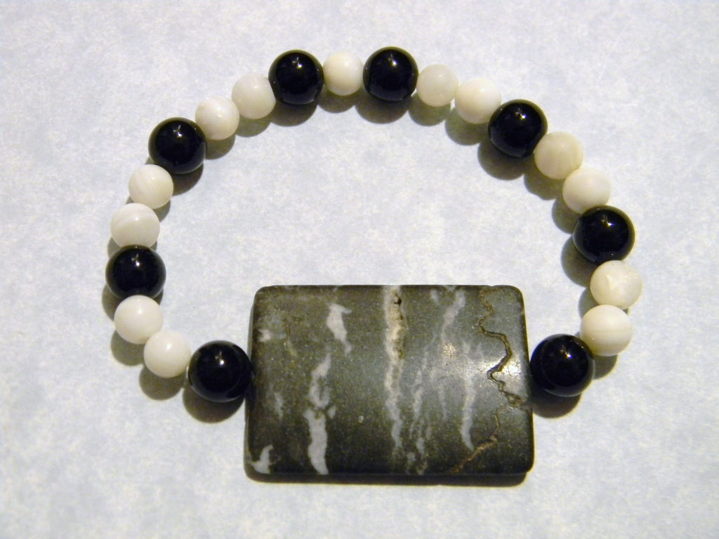Black and White Marble Focal Bead, Onyx and Mother of Pearl Stretch Bracelet