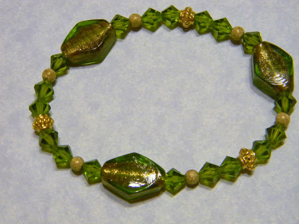 Olivine Crystal and Glass Foil Stretch Bracelet with Gold Beads