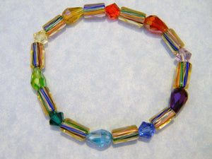 Multicolor Rainbow Furnace Cane Tube and Crystal Stretch Bracelet