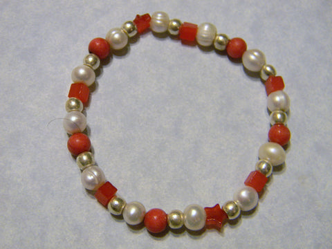 Candy Red Jade, Freshwater Pearl and Silver Stretch Bracelet
