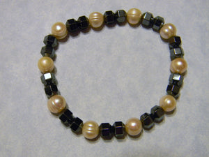 Freshwater Peach Pearl and Hematite Stretch Bracelet