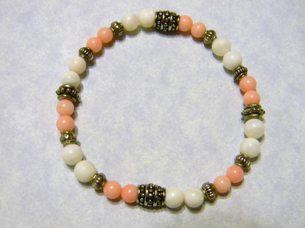 Mother of Pearl, Coral and Silver Stretch Bracelet