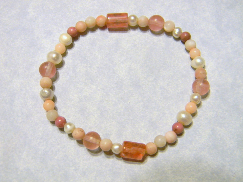 Shades of Coral, Pink and White Gemstone Stretch Bracelet