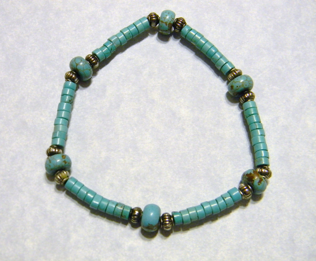 Turquoise Rondel and Silver Stretch Bracelet