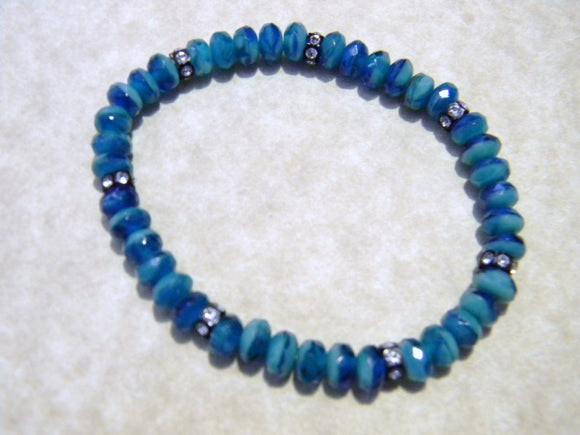 Two Tone Turquoise Colored Glass Rondel and Rhinestone Stretch Bracelet