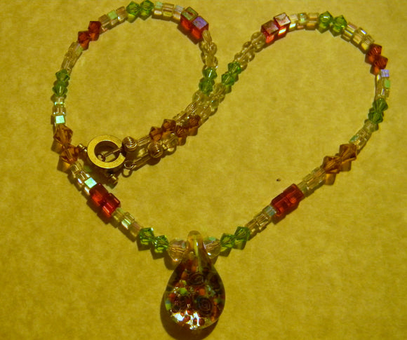 Art Glass Lampwork Millefiori Pendant and Crystal and Glass Necklace