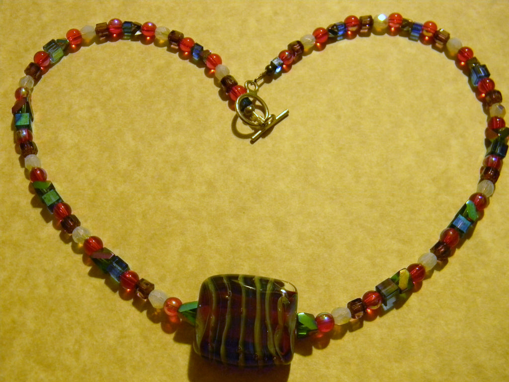 Red and Multicolor Striped Art Glass Pendant and Glass Necklace