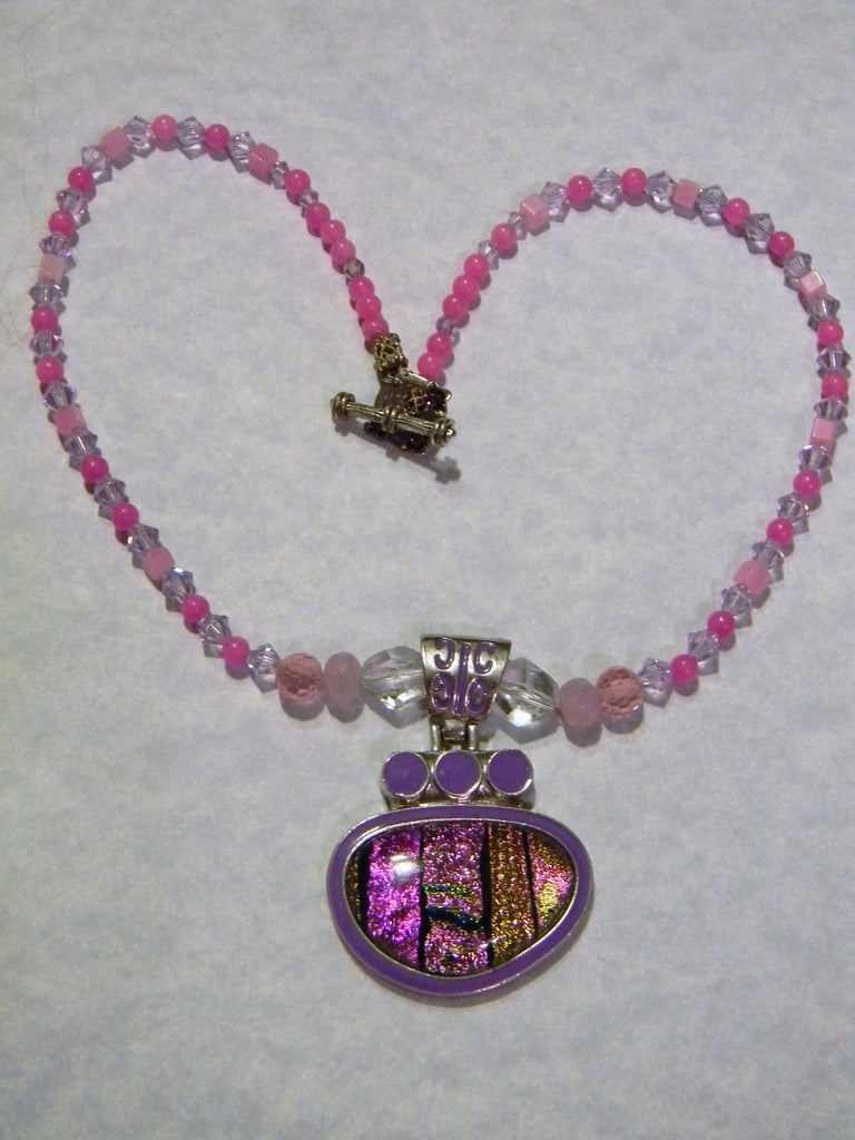 Pink, Lavender and Gold Art Glass, Crystal, CZ, Gemstone and Faceted Glass Pendant Necklace