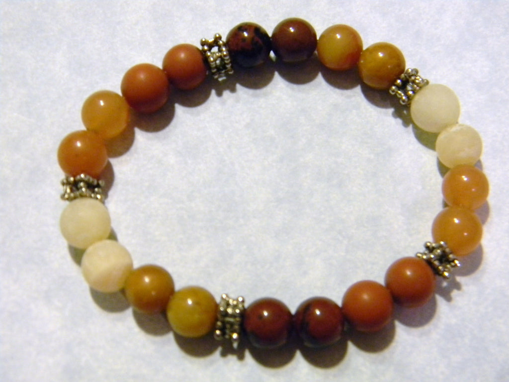 Shades of Brown, Beige and Rust Gemstone and Silver Stretch Bracelet