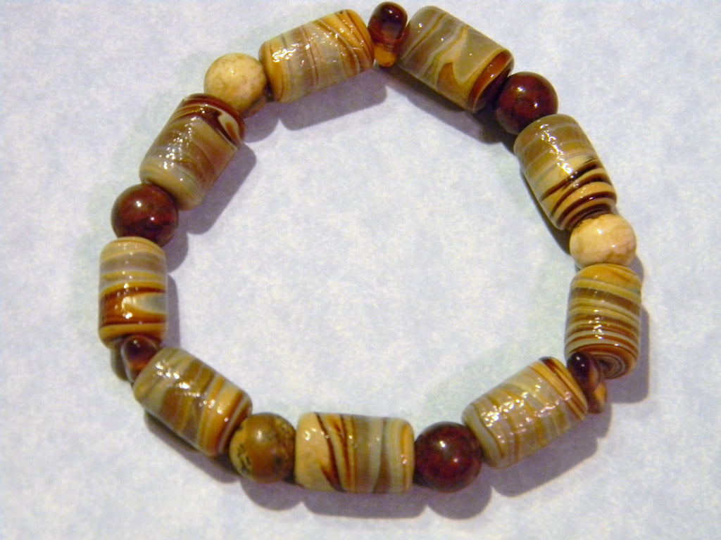 Shades of Brown and Rust Art Glass Bead and Gemstone Stretch Bracelet
