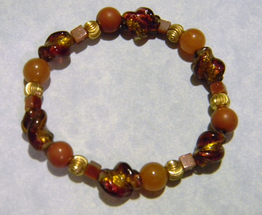 Shades of Gold and Amber Art Glass Lampwork and Gemstone Stretch Bracelet