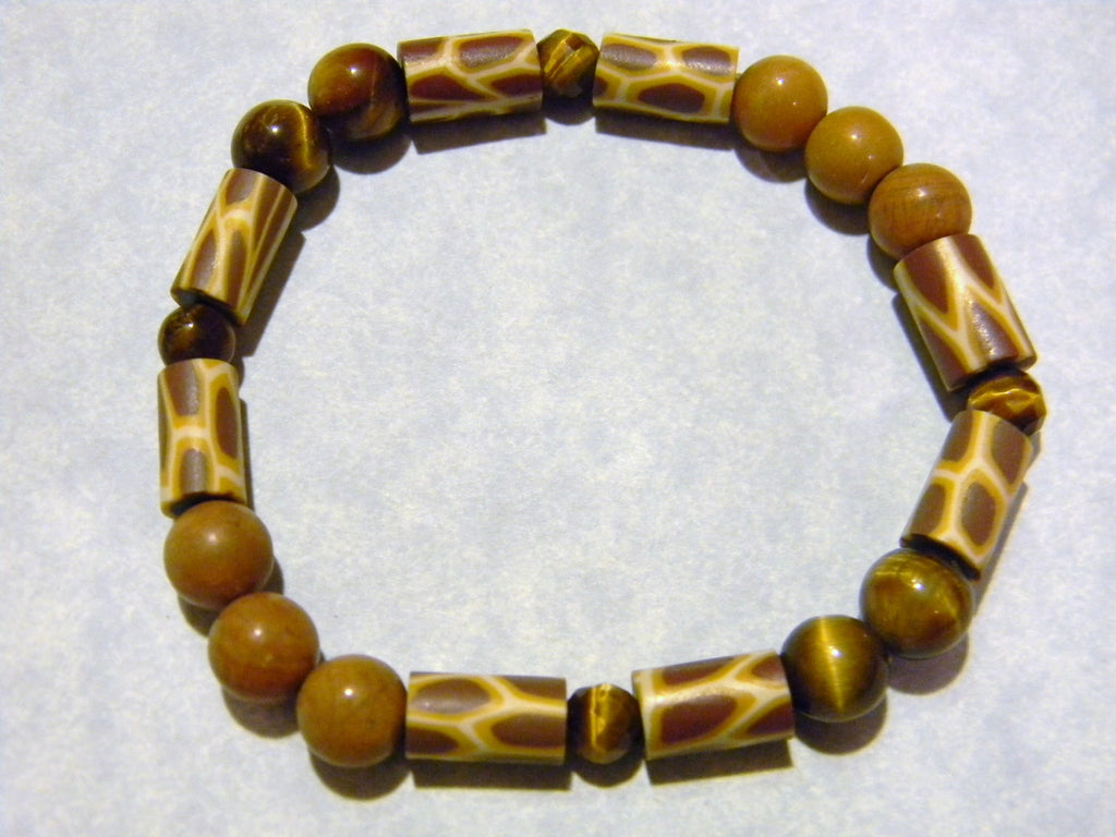 Giraffe Print Fimo Bead, Tigers Eye and Jasper Stretch Bracelet