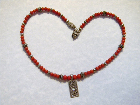 Red Coral and Silver Jewish Star Pendant Necklace