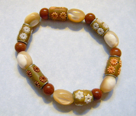 Beige and Tan Tibetan Lac Bead, Mother of Pearl and Goldstone Stretch Bracelet