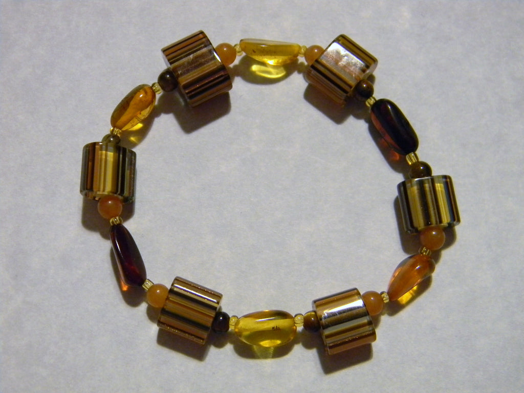 Multicolor Amber, Peach Aventurine, Tiger's Eye and Furnace Bead Stretch Bracelet