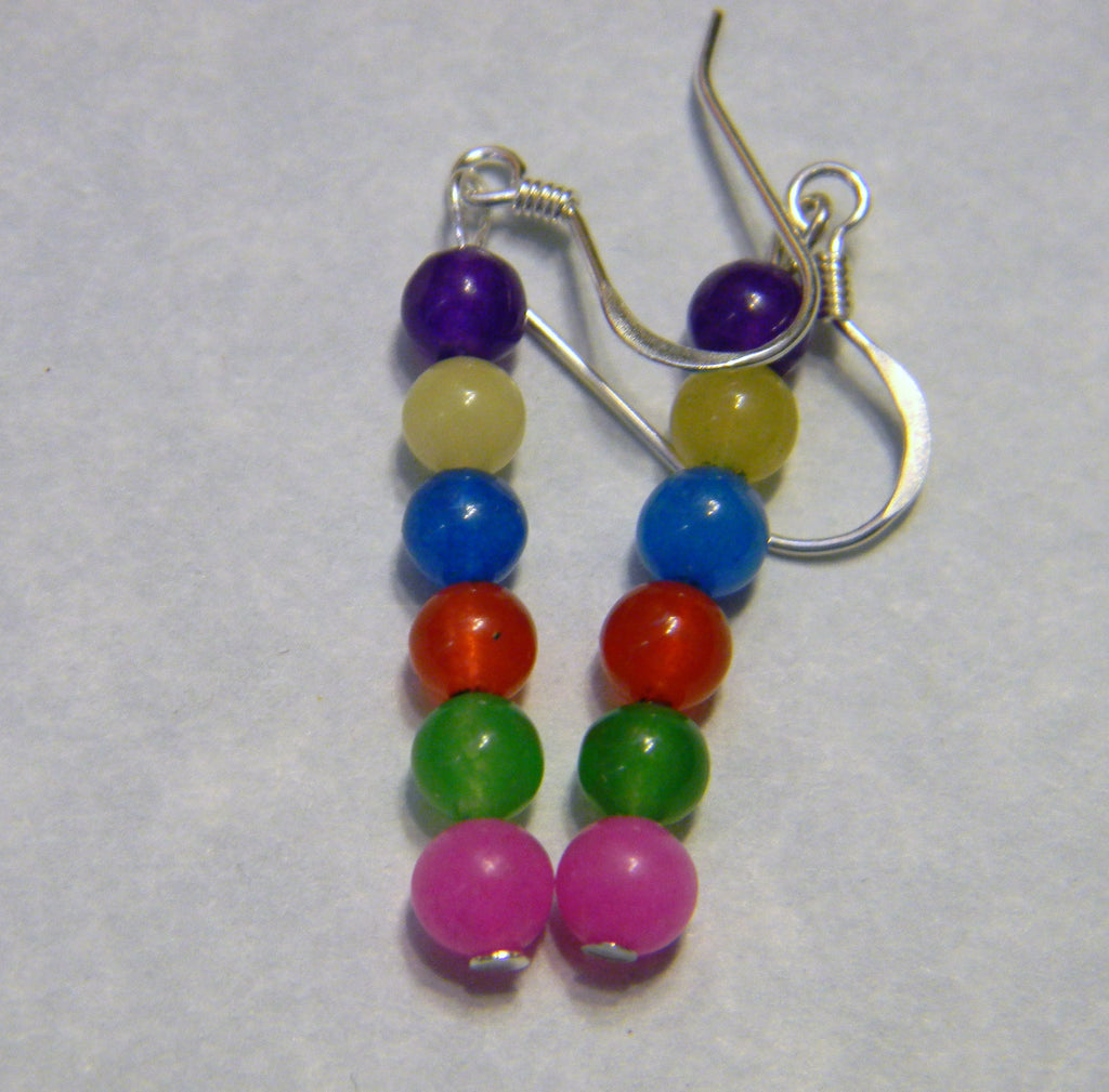 Rainbow Multicolor Dyed Agate Drop Earrings