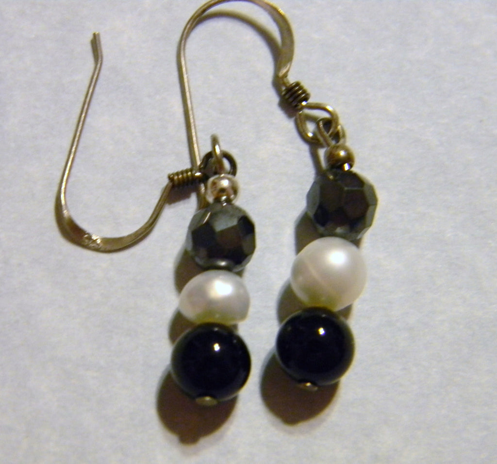 Onyx White Pearl and Hematite Drop Earrings