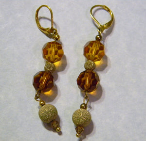 Shades of Brown and Gold Crystal and Gold Bead Drop Earrings