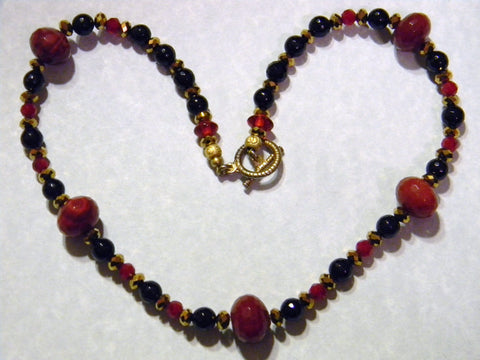 Dark Red Agate, Onyx, Quartz and Glass Necklace