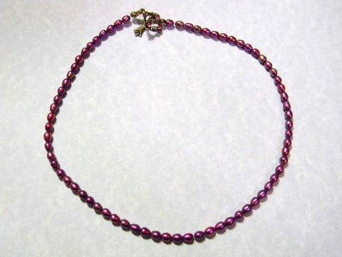 Cranberry Rice Pearl Necklace with Crystal Toggle