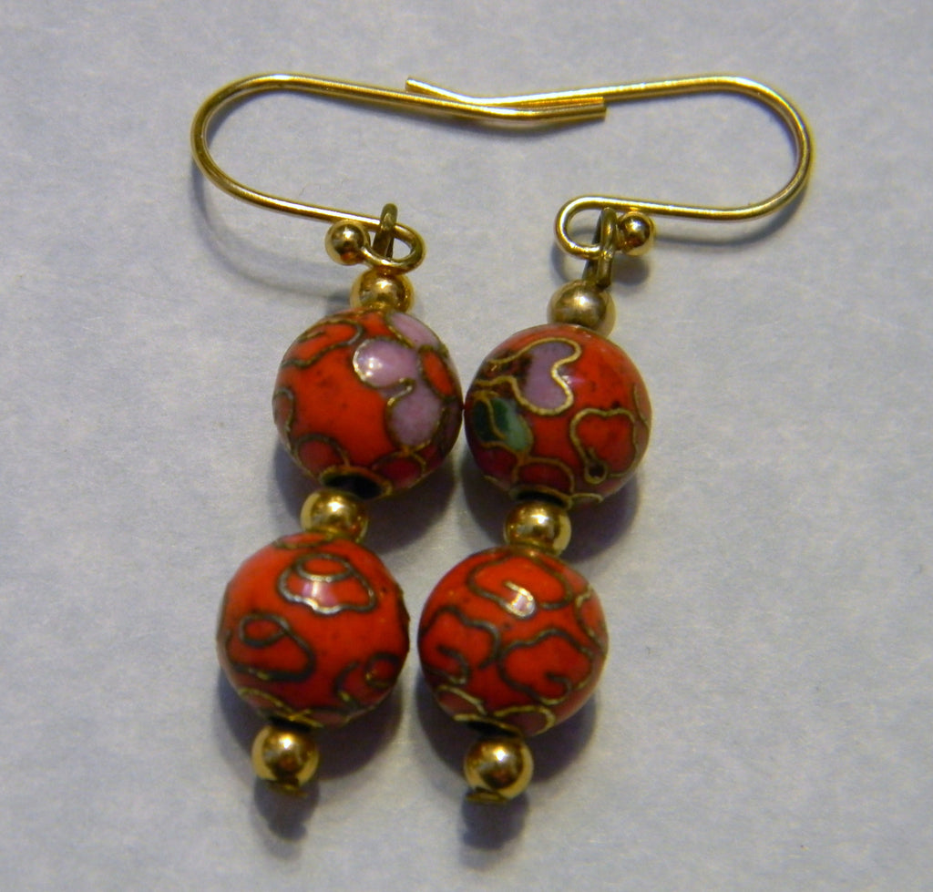 Red Cloisonné Enamel and Gold Bead Earrings