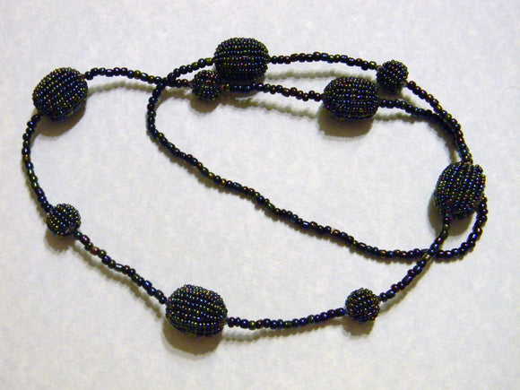 Black and Blue Metallic Rainbow Seed Bead Necklace
