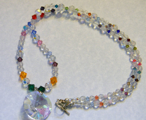Clear Cut Glass and Rainbow Crystal Long Necklace