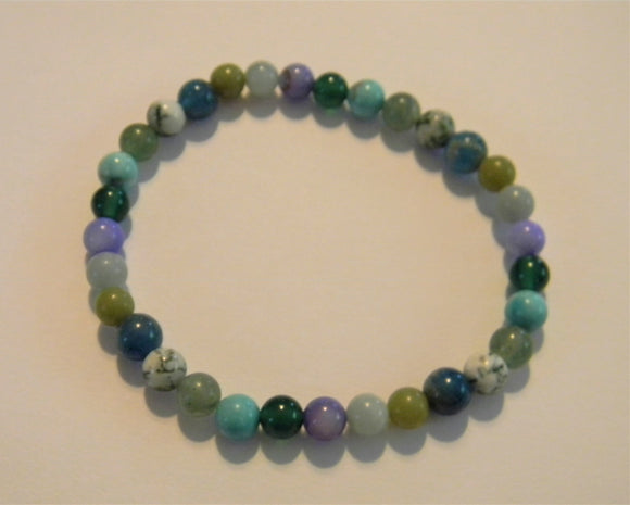 Shades of Green and Turquoise Gemstone Stretch Bracelet