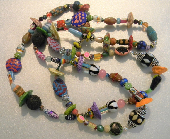 Multicolor Glass, Acrylic, Paper and Ceramic Bead Long Necklace