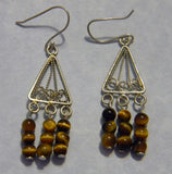 Tiger's Eye and Filigree Silver Chandelier Earrings