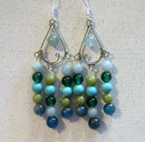 Shades of Green and Turquoise Gemstone and Silver Chandelier Earrings
