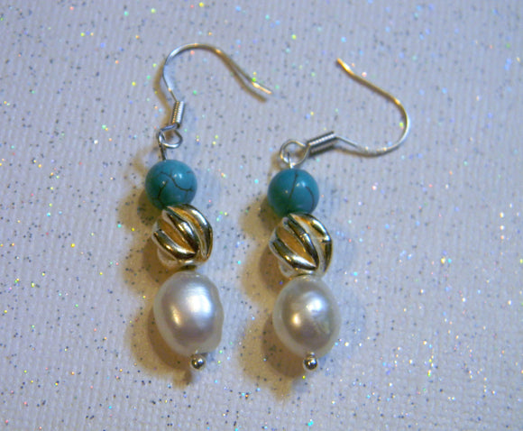 Turquoise, Freshwater Potato Pearl and Hill Tribe Silver Drop Earrings