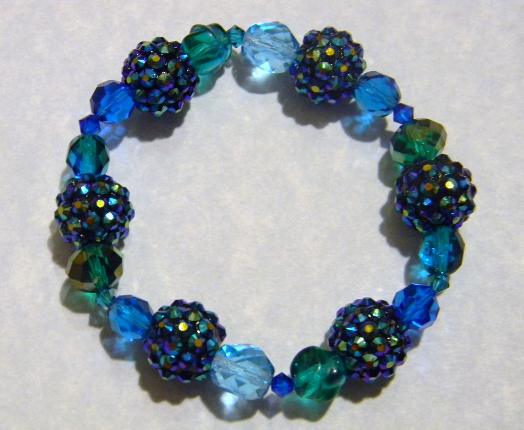 Shades of Blue and Green Rhinestone, Crystal and Glass Bead Stretch Bracelet