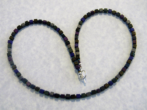 Muted Dark Colored Wooden Cube and Seed Bead Necklace