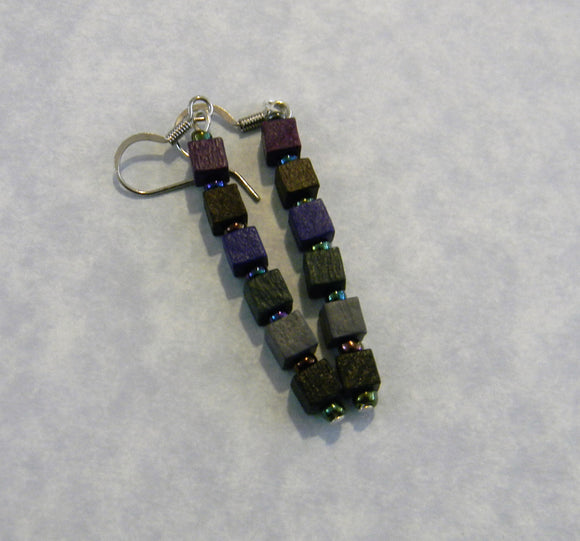 Muted Dark Colored Wooden Cube and Seed Bead Drop Earrings