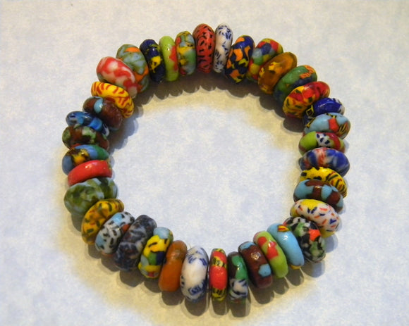 Multicolor Krobo Powdered Glass Doughnut Spacer Stretch Bracelet