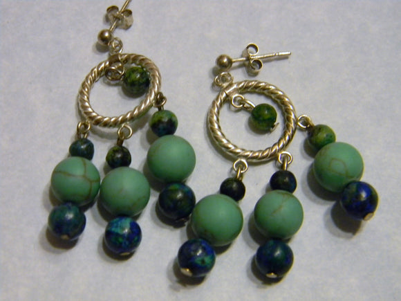 Green Turquoise, Chrysocolla and Silver Chandelier Earrings