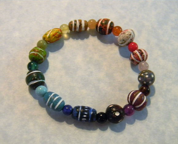 Rainbow Multicolor Clay Bead and Gemstone Stretch Bracelet