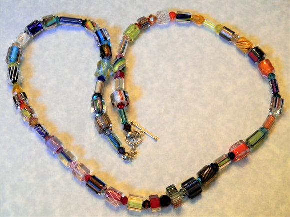 Rainbow Multicolor Furnace Cane Bead, Crystal and Faceted Glass Necklace