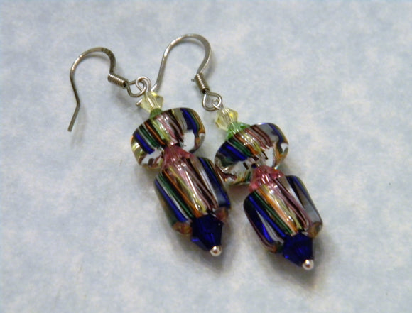 Rainbow Multicolor Furnace Cane Bead and Crystal Drop Earrings