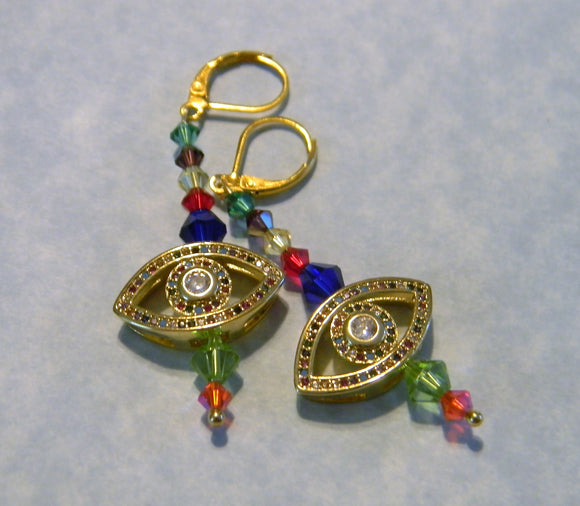 Rainbow Crystal and Evil Eye Slider Bead Drop Earrings